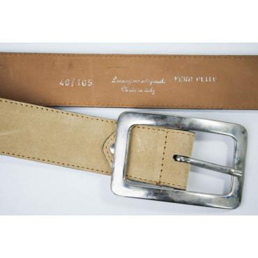 Cintura Beige in pelle scamosciata lunga 105 cm fibbia cromata - taglie forti