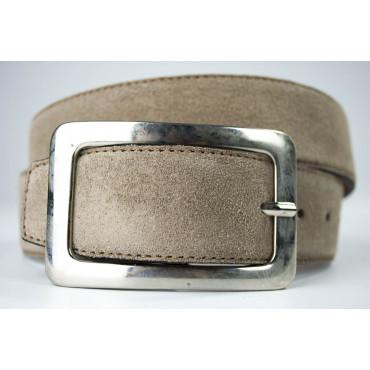 Cintura Beige Tortora in pelle scamosciata lunga 105 cm fibbia cromata - taglie forti