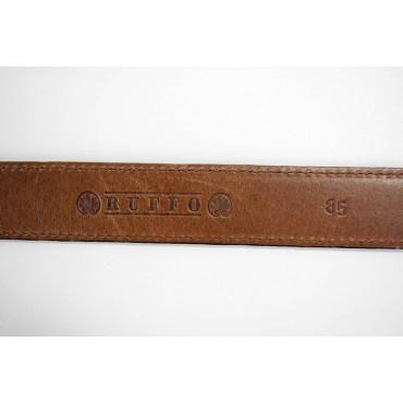 Cintura uomo Ruffo Marrone in pelle lunga 85 cm fibbia cromata