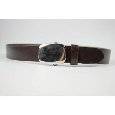 Cintura uomo Marrone in pelle lunga 75 cm fibbia cromata satinata