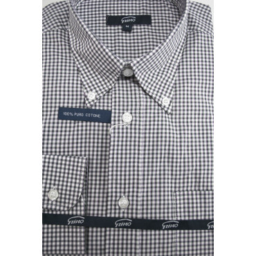 Shirt Man White-Checkered Black ButtonDown - M 40-41 - classic fit