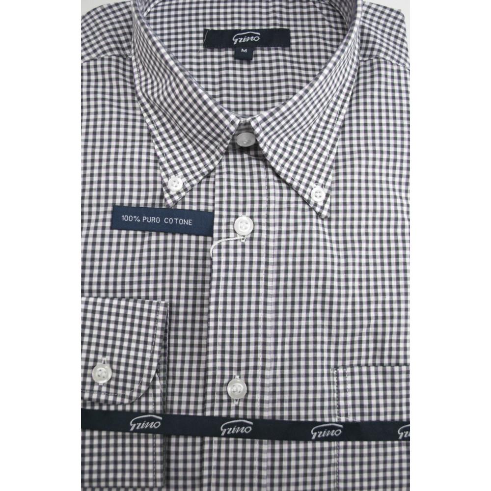 Shirt Man White-Checkered Black ButtonDown - M 40-41 - classic fit