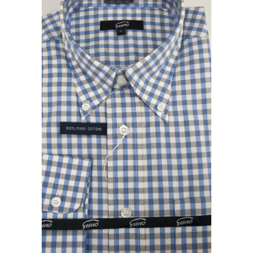 Homme shirt Blanc Peintures Bleu Gris ButtonDown - L 42-43 - coupe classique