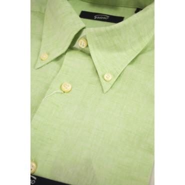 Homme shirt en mélange de Lin Vert Menthe ButtonDown - L 42-43 - ajustement décontracté