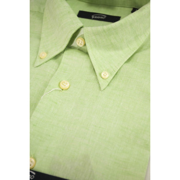 Man shirt Linen blend Mint Green ButtonDown - L 42-43 - fit casual