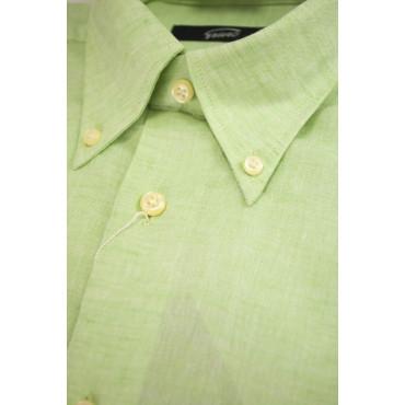 Camicia Uomo Misto Lino Verde Menta ButtonDown  - L 42-43 - vestibilità casual