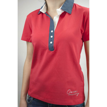 Coveri Women Polo M 44 Red collar, Blue polka Dots