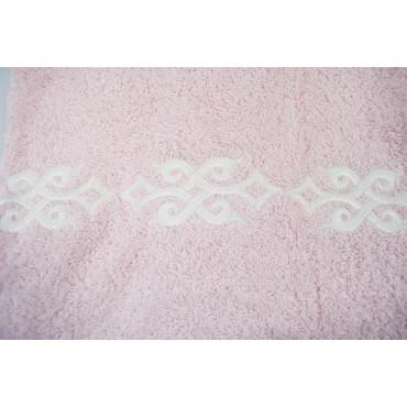 Set 2pz Asciugamani Spugna Rosa con ricamo Bianco- 500 gr Mq - 1 Viso 1 Bidet