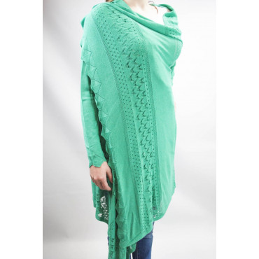 Duster Sweater Women's Large Long Emerald Green - Cotton and Linen - Spring-Summer