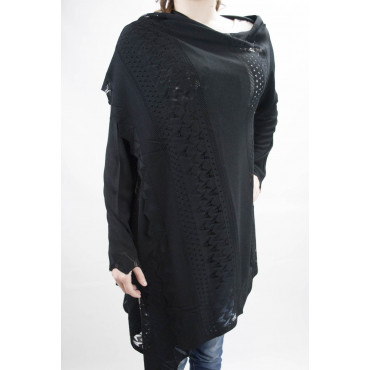 Duster Sweater Women's Large Long-Black - Cotton and Linen - Spring-Summer