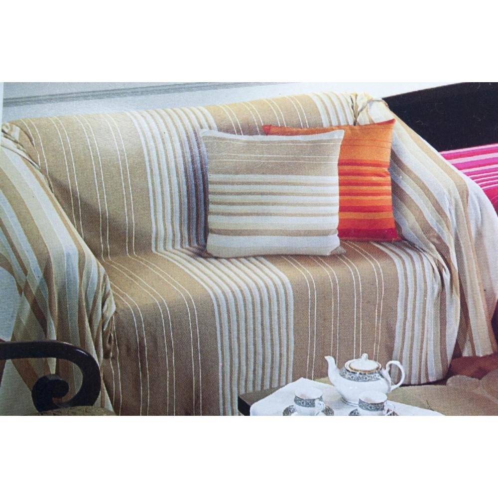 Telo arredo copridivano copriletto beige a righe 250x250 matrimoniale kerala - Telo arredo divano ...