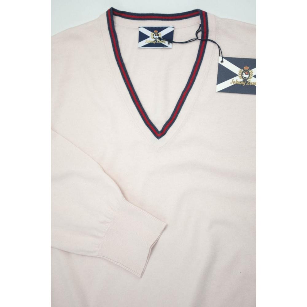 JOHNNY LAMBS Pullover ScolloV Uomo Cotone 46 S Rosa Tennis