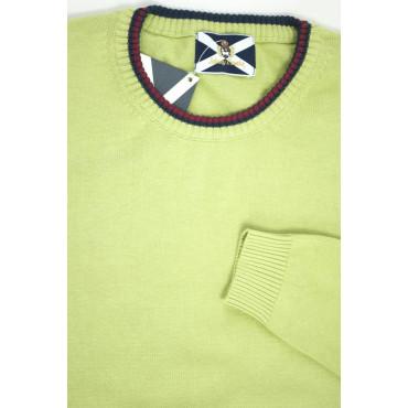 JOHNNY LAMBS Pullover Estivo Girocollo Tennis L 50 Verde Pistacchio - Cotone