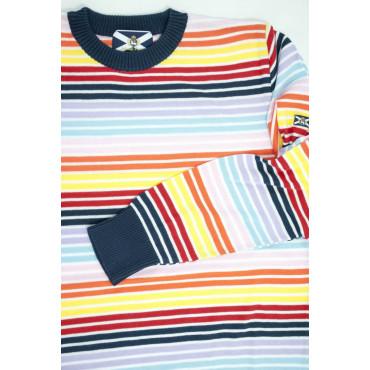 JOHNNY LAMBS Pullover Estivo Girocollo S 48 Righe Multicolore  - Cotone