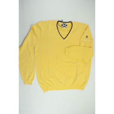 JOHNNY LAMBS Pullover Estivo ScolloV Tennis L 50 Giallo - Cotone