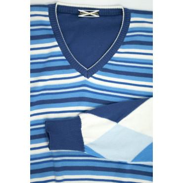JOHNNY LAMBS Pullover Estivo ScolloV  L 50 Blu Righe con Maniche Rombi - Cotone