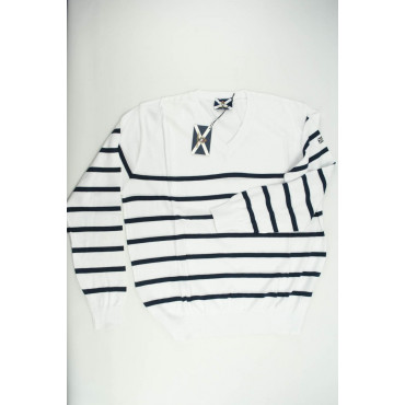 JOHNNY LAMBS Pullover Estivo ScolloV XXXL 56 Bianco Righe Blu Orizzontali - Cotone