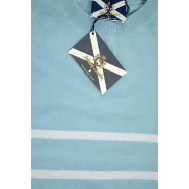 JOHNNY LAMBS Pullover Estivo Girocollo XL 52 Celeste Righe Bianche Orizzontali - Cotone