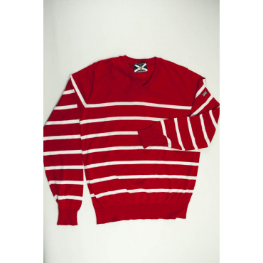 JOHNNY LAMBS Pullover Estivo ScolloV XXL 54 Rosso Righe Bianche Orizzontali - Cotone