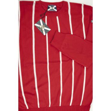 JOHNNY LAMBS Pullover Estivo Girocollo XXXL 56 Rosso Righe Bianche Verticali - Cotone
