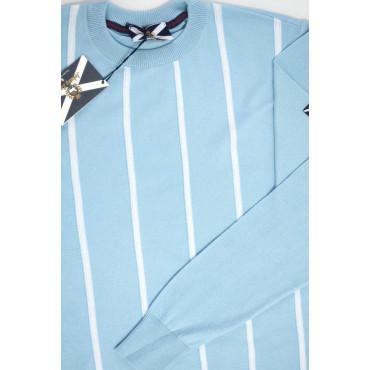 JOHNNY LAMBS Pullover Estivo Girocollo XXXL 56 Celeste Righe Bianche Verticali - Cotone