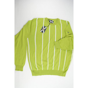 JOHNNY LAMBS Pullover Estivo Girocollo XXXL 56 Verde Acido Righe Bianche Verticali - Cotone