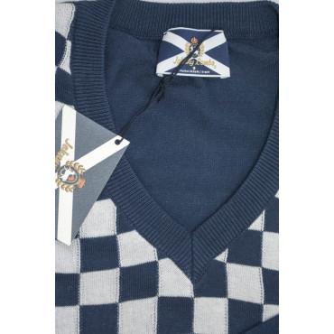 JOHNNY LAMBS Pullover Estivo ScolloV XL 52 Blu Scacchi Bianco - Cotone