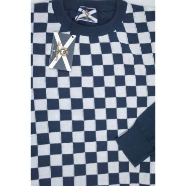 JOHNNY LAMBS Pullover Estivo Girocollo XL 52 Blu Scacchi Bianco - Cotone