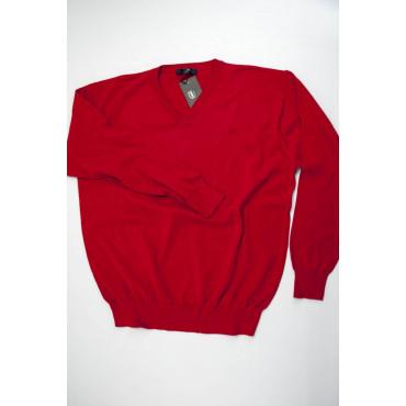Pullover Estivo ScolloV L Rosso Tintaunita - Cotone
