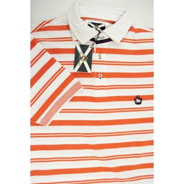 Johnny Lambs Polo Uomo XL 52 Arancione a righe Orizzontali - Mezze Maniche
