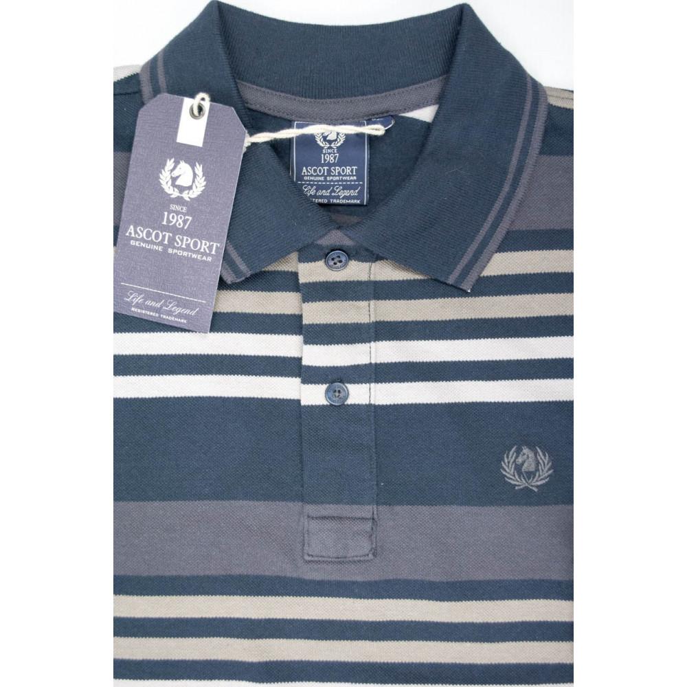 Ascot Sport Polo Uomo L 50 Righe Blu Grigio - Maniche Lunghe