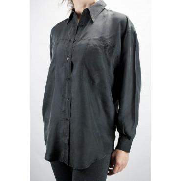 Camisa De Seda Pura Stonewash Negro Tintaunita - S - Manga Larga
