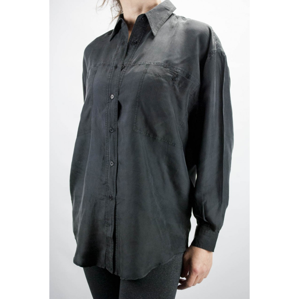 Shirt Of Pure Silk Stonewash Black Tintaunita - S - Long-Sleeve
