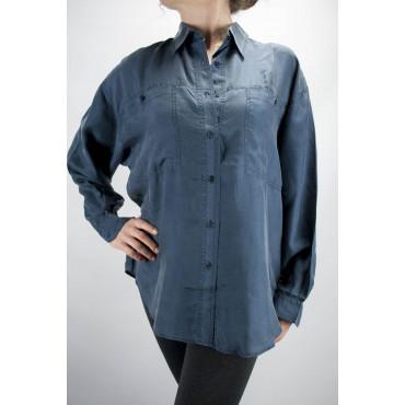 Camisa De Seda Pura Stonewash Azul Oscuro Tintaunita - L - Manga Larga