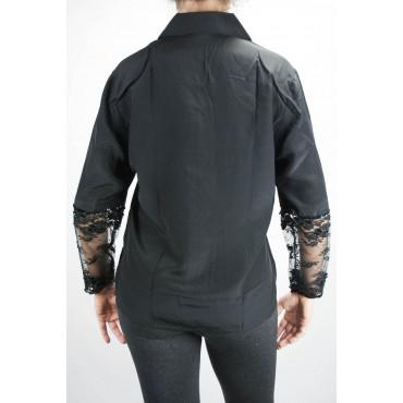 Shirt Woman Black Pure Silk Lace Sleeves - M L