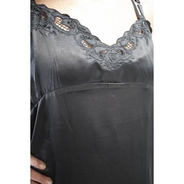 Camicia da Notte Lunga Raso Pura Seta Nera taglia XL - Ricamo a Mano