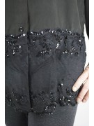 Shirt Woman Black Pure Silk Lace Sleeves - M