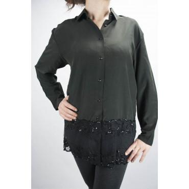 Camisa De Mujer Negro De Pura Seda Con Mangas De Encaje - M