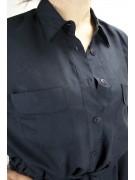 Safari Long Shirt Women Dark Blue M 100% Pure Silk