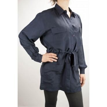 Safari Longue Chemise Femme Bleu Foncé M 100% Pure Soie