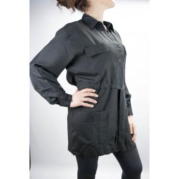 Subsaharienne Shirt Long Femme Noir M 100% Pure Soie