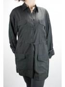 Saharan Shirt Long Women Black M 100% Pure Silk