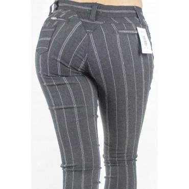 Jeggins Pantaloni Donna tg 42 Stretch Nero Gessato Bianco