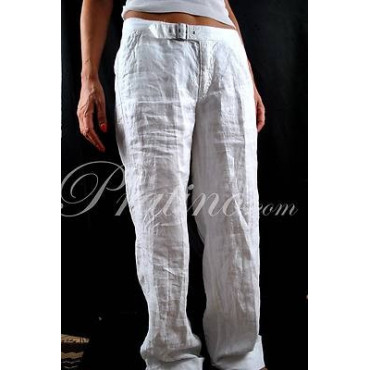 COTTON BELT Pantaloni Donna Puro Lino Bianco 44 30 Vita Bassa Gamba Ampia - Cotton Belt Gonne e Pantaloni