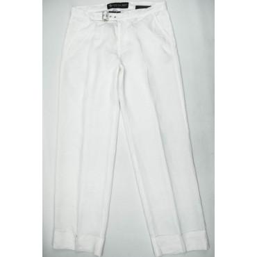 COTTON BELT Pantaloni Donna Puro Lino Bianco 44 30 Vita Bassa Gamba Ampia