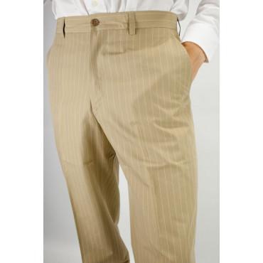 Pantaloni Uomo Classico taglia 48 Beige Chiaro Twill Cotone - PE
