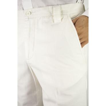 Pantaloni Uomo Casual taglia 48 Avorio Panama Cotone - PE