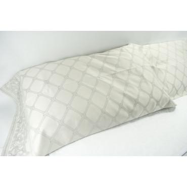 Par de Fundas de almohada de Algodón Satén Jacquard Treillage Gris 52x92