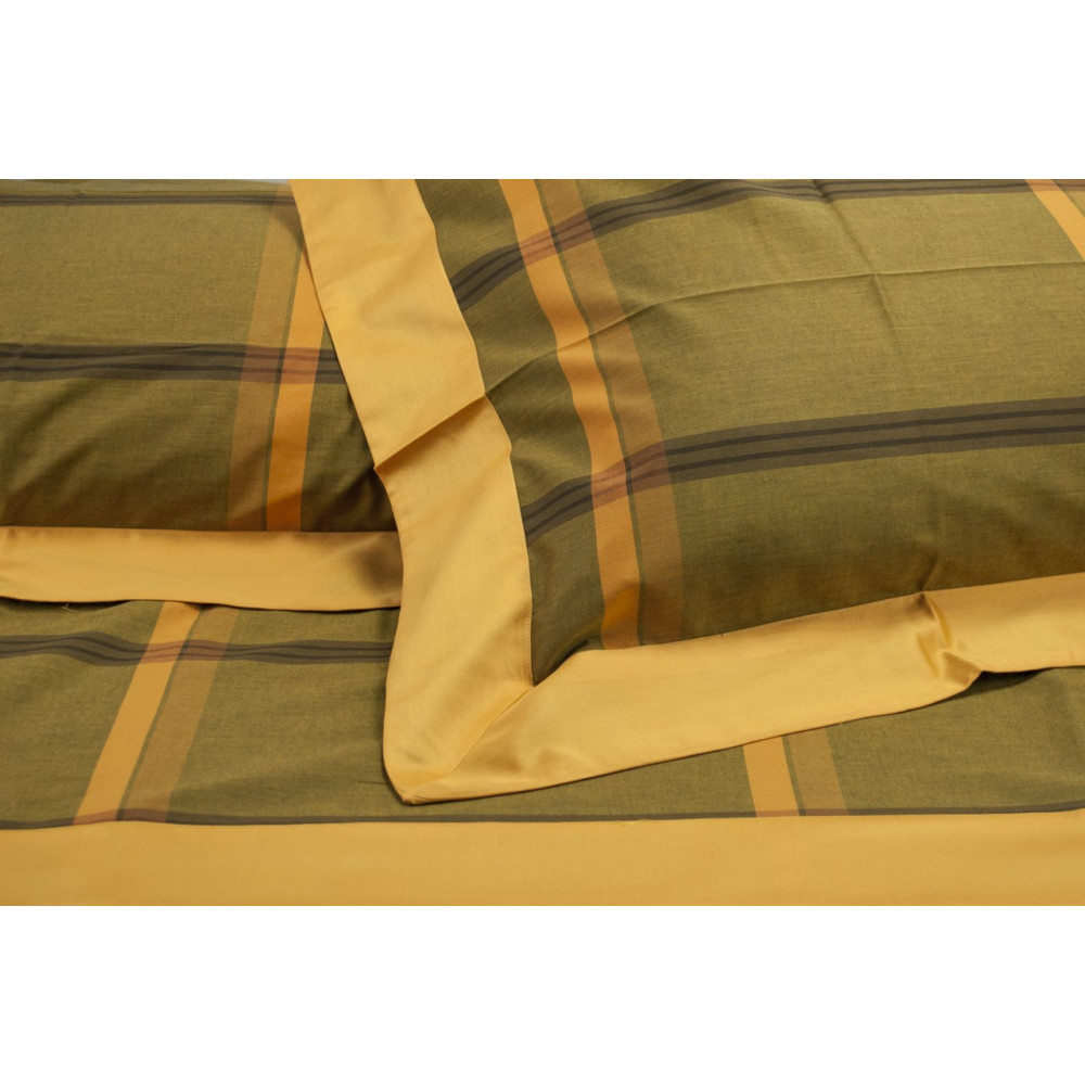 Lenzuola Matrimoniale Standard Quadri Arancio Marrone Percalle 240x290 Sotto Angoli 160 7421