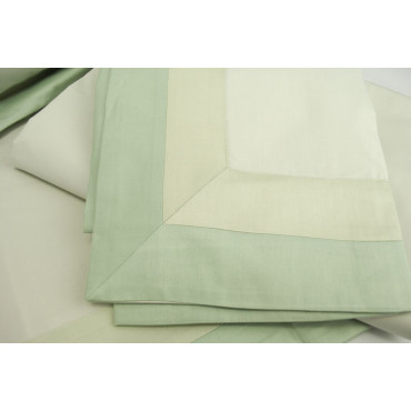 Sheets 1Piazza e1/2 Percale 2Strisce Green 220x290 Under the plan 7712